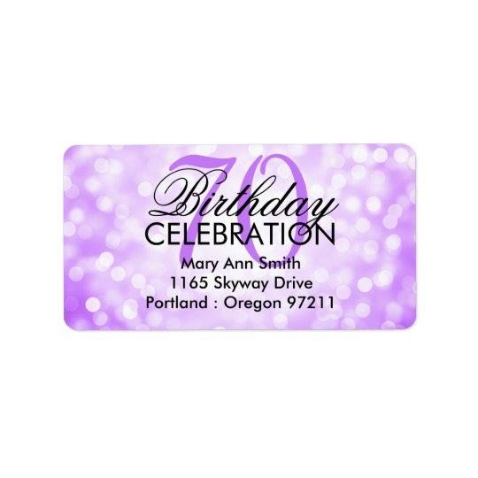 Address 70th Birthday Party Purple Glitter Lights