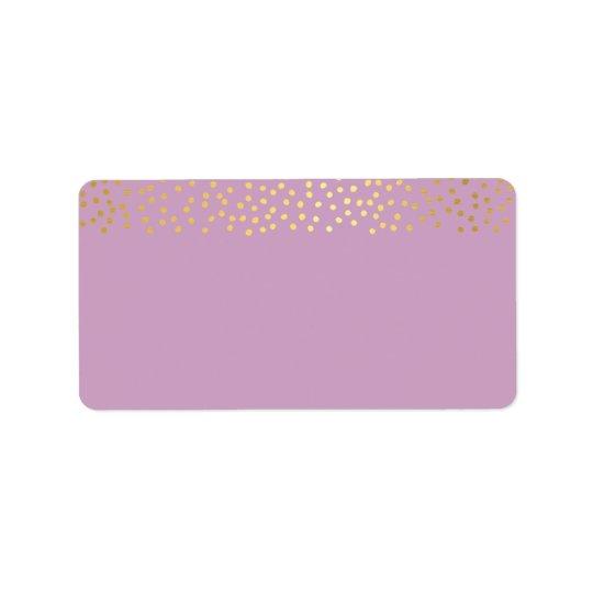 ADDRESS chic rustic faux gold confetti purple Label