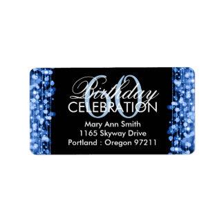 Address Elegant 60th Birthday Party Sparkles Blue