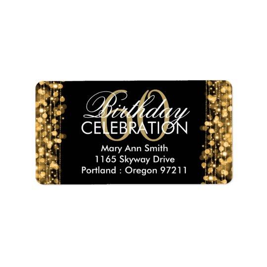 Address Elegant 60th Birthday Party Sparkles Gold