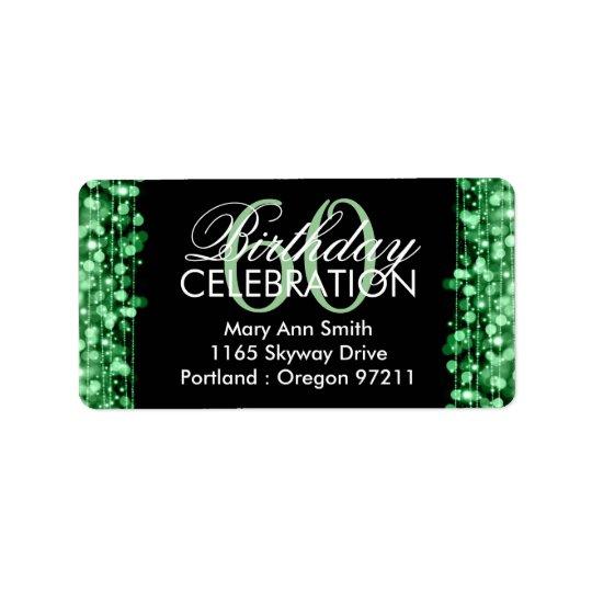 Address Elegant 60th Birthday Party Sparkles Green Label