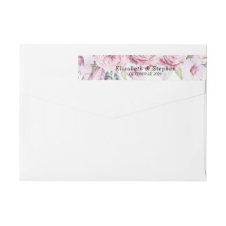 Address Label Chic Watercolor Boho Floral Feather