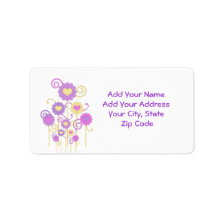 Address Label, Colorful digital flowers, hearts Label