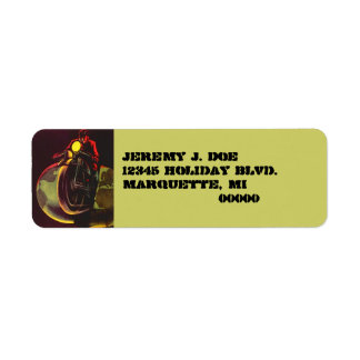 Address Label Earth Globe Split Vintage Biker Adv.