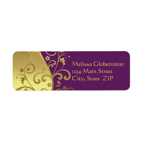 Address Label--Gold Swirls & Red Violet Return Address Label