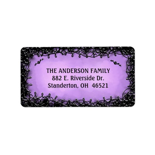 Address Label - Halloween Purple with Black Border