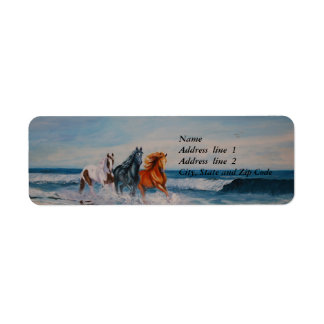 Address Label, Horses in the surf