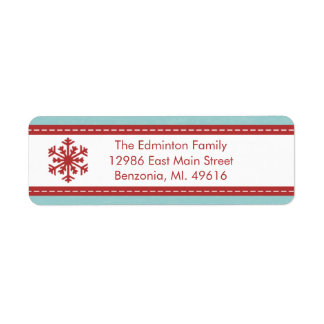 Address Label Modern Blue Merry Little Christmas