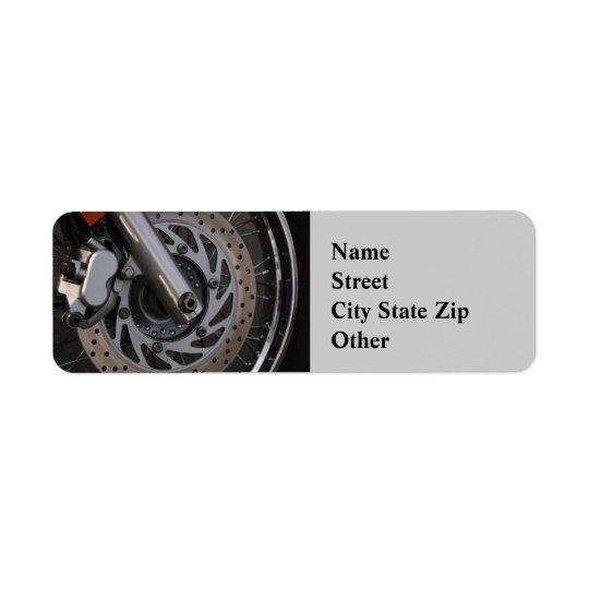 Address Label  Motorcycle Wheel