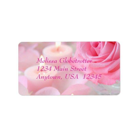 Address Label--Pink Rose & Candles