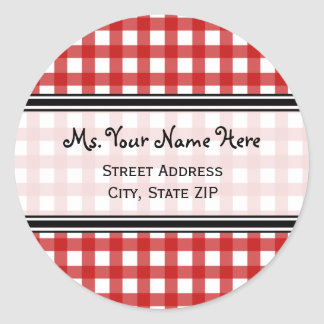 Address Label - Red Gingham Round Sticker