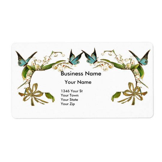 Address Label Vintage Retro Butterfly Floral