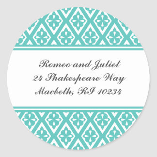 Address Label with Medieval Cross Pattern Round Sticker