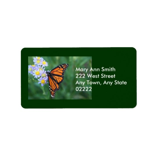 Address Label with Monarch Butterfly