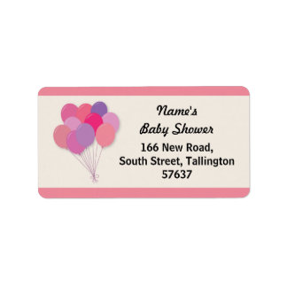 Address Labels BALLOONS Baby Shower Pop Pink