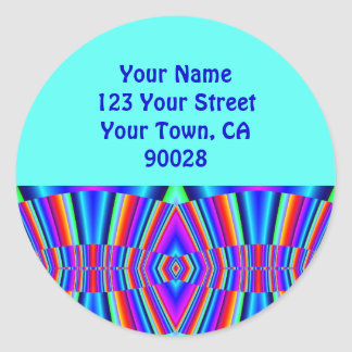 Address Labels Colourful fractal Round Sticker