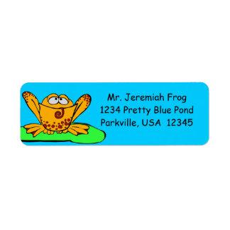 Address Labels, Cute Orange Frog Cartoon