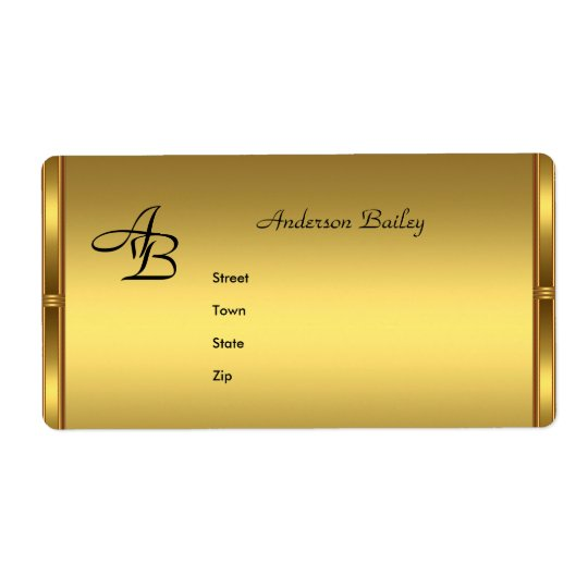 Address Labels Elegant Gold Initials