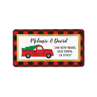 Address Labels Festive Merry Christmas Truck Red