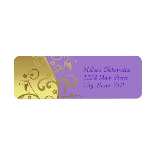 Address Labels--Gold Swirls & Lavender