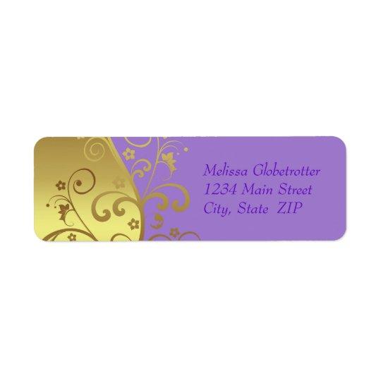Address Labels--Gold Swirls & Lavender Return Address Label