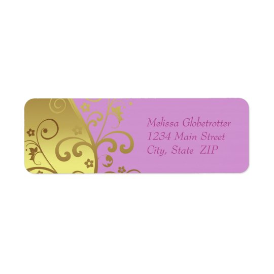 Address Labels--Gold Swirls & Pink Return Address Label