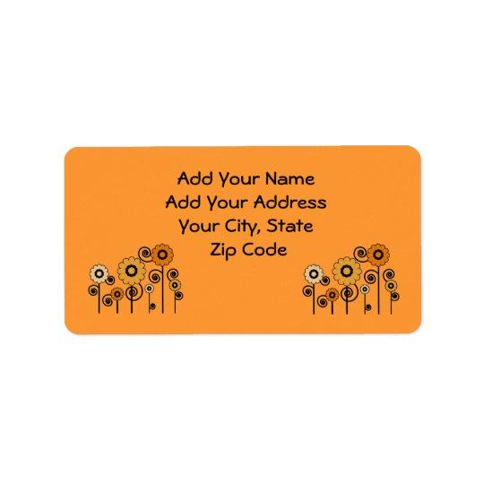 Address Labels, orange Daisies on orange Label
