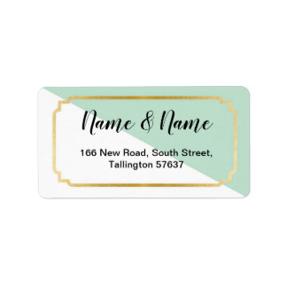 Address Labels Pretty Mint Gold Elegant White