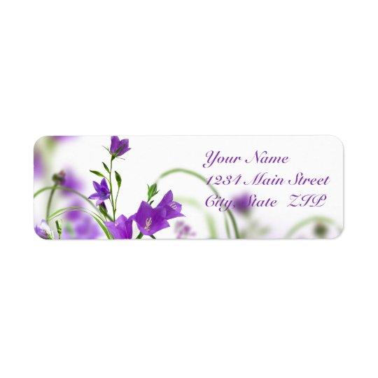 Address Labels--Purple Flowers Horizontal Return Address Label