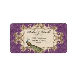 Address Labels - Purple Vintage Peacock Etchings