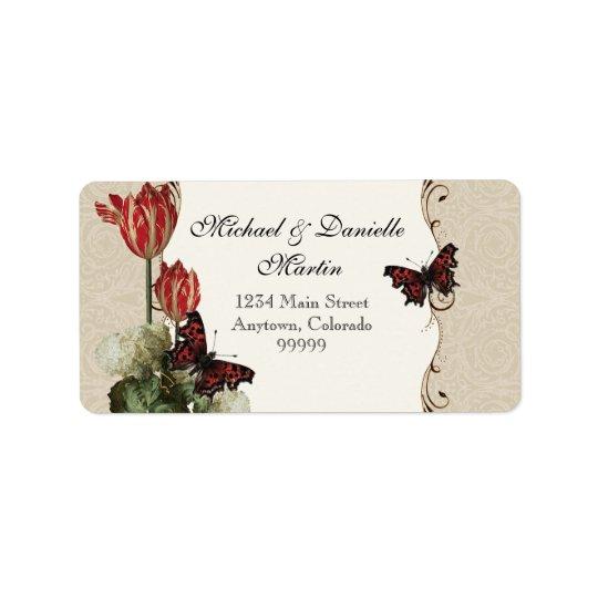 Address Labels - Tan n Cream Red Tulip Damask