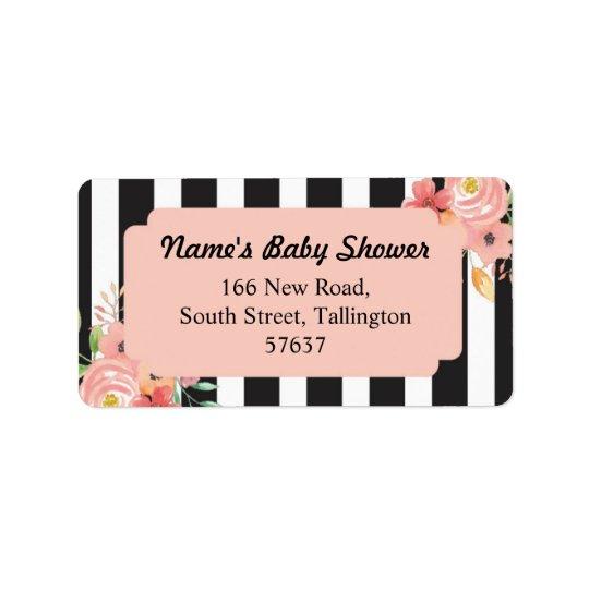 Address Peach Labels Stripe Baby Shower Flower