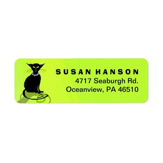 Address Return Label - Black Cat Purple Collar