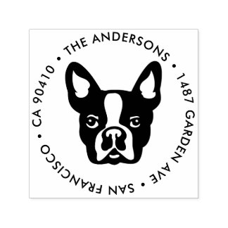 Address Stamp, French bulldog address stamp
