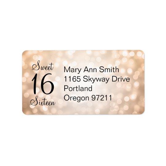 Address Sweet 16 Birthday Copper Glitter Lights