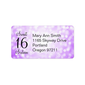 Address Sweet 16 Birthday Purple Glitter Lights Address Label