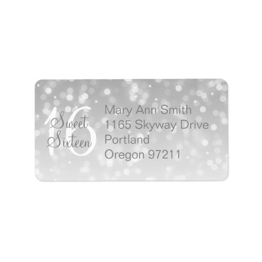 Address Sweet 16 Birthday Silver Sparkle Lights Label