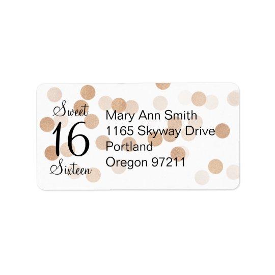 Address Sweet 16 Faux Copper Foil Glitter Lights Label