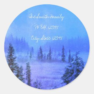 Address Tundra Trees Classic Round Sticker