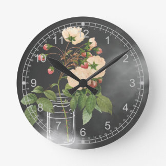 Adelaide Rose on Black Round Clock