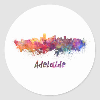 Adelaide skyline in watercolor classic round sticker