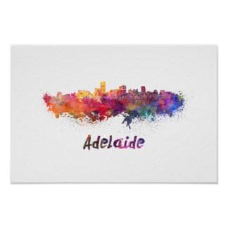 Adelaide skyline in watercolor poster