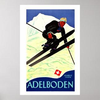 Adelboden,Schweiz, Ski Travel Poster