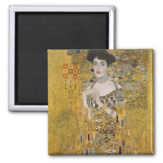 Adele Bloch-Bauer's Portrait  by Gustav Klimt Square Magnet