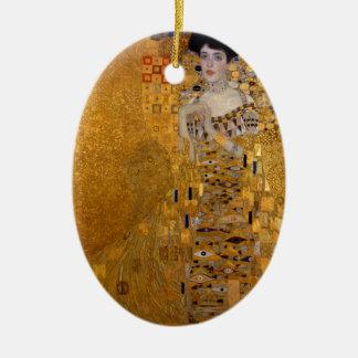 Adele, The Lady in Gold - Gustav Klimt Ceramic Oval Ornament