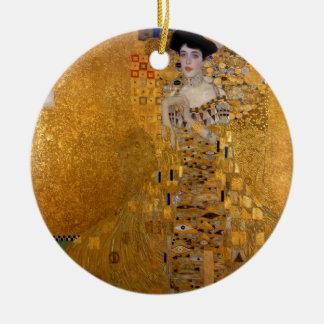Adele, The Lady in Gold - Gustav Klimt Round Ceramic Ornament