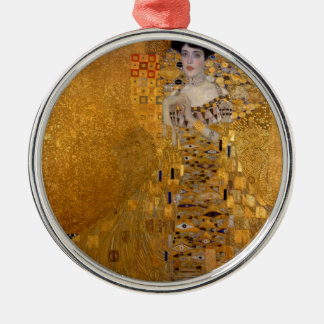 Adele, The Lady in Gold - Gustav Klimt Silver-Colored Round Ornament