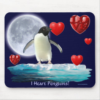 Adelie Penguin, Moon & Hearts Mousepad