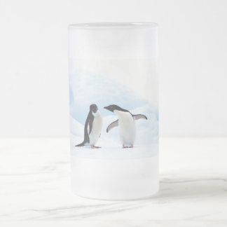 Adelie Penguins Frosted Glass Beer Mug