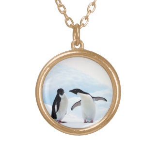 Adelie Penguins Gold Plated Necklace